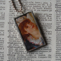 Renoir, Luncheon of the Boating Party, French impressionist painting, upcycled to soldered glass pendant