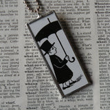 Man with Umbrella, Trombone player, vintage illustration, upcycled to soldered glass pendant