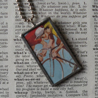 Vintage bicycle advertising, vintage illustration upcycled to soldered glass pendant