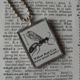Velvet ant, vintage dictionary illustration, up-cycled to soldered glass pendant