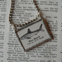 Blue shark, vintage scientific dictionary illustration, upcycled to hand soldered glass pendant