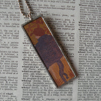 Pierre Bonnard woman, art nouveau painting, art history, upcycled to soldered glass pendant