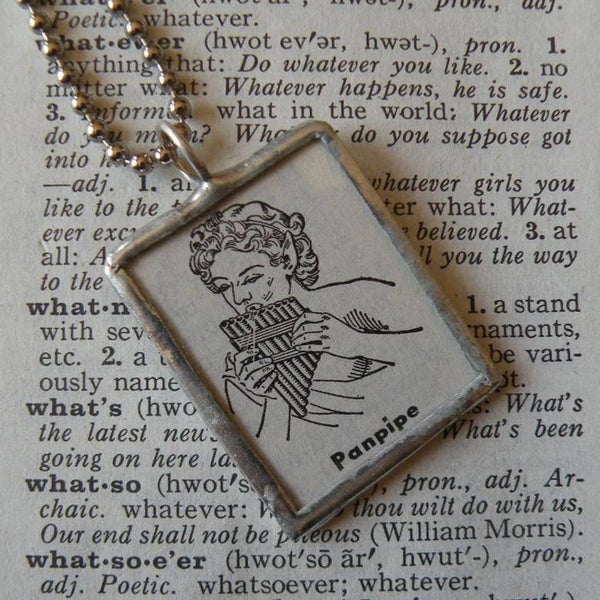 Pan, Pan Pipes, Roman Greek Mythology, vintage dictionary illustration, upcycled to soldered glass pendant