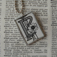 Letter P initial monogram, art nouveau design, upcycled to soldered glass pendant