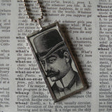 Victorian Man in Hat, vintage illustration, upcycled to soldered glass pendant