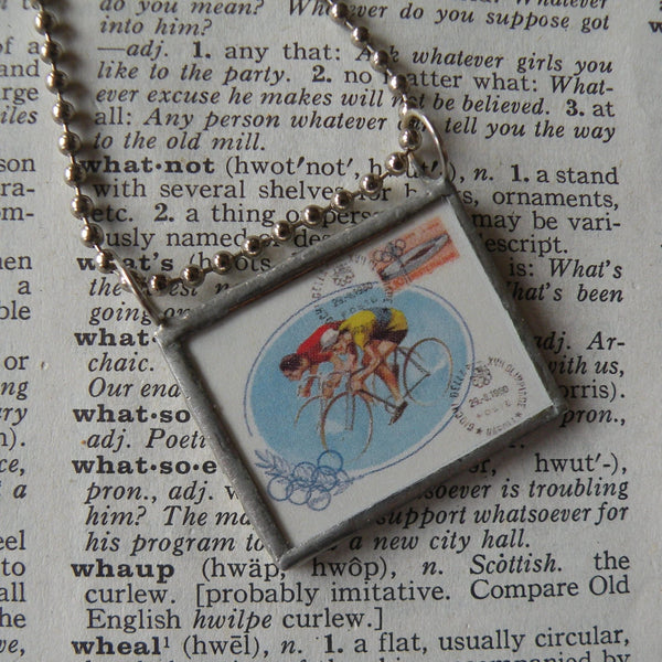 Vintage Olympics bicycle, bicyclist, bike vintage illustration, up-cycled to soldered glass pendant