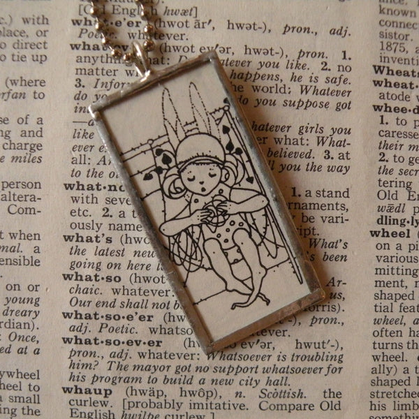 Fairy, Elf, Faeries, vintage children's book illustration up-cycled to soldered glass pendant