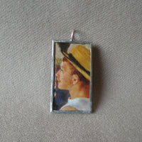 1Renoir, Luncheon of the Boating Party, French impressionist painting, upcycled to soldered glass pendant