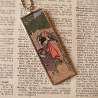 Vuillard, A Walk in the Park, French Nabis painting, upcycled to soldered glass pendant