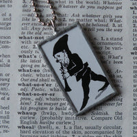 Elf, gnome, playing clarinet, children's book illustration up-cycled to soldered glass pendant