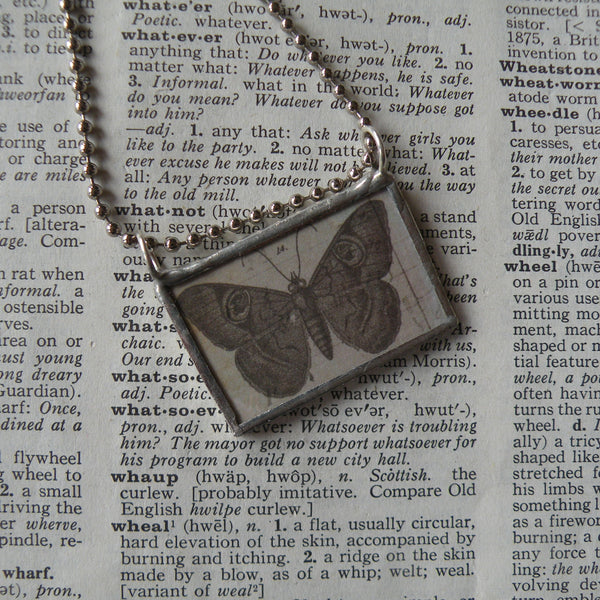 Butterfly, butterflies, vintage scientific illustrations, upcycled to 2-sided soldered glass pendant