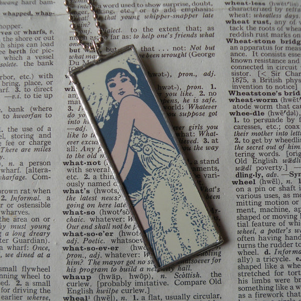 Art Deco woman and man, vintage illustration, upcycled to soldered glass pendant