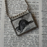 Beaver, vintage illustration, up-cycled to hand-soldered glass pendant, includes choice of necklace