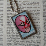 Mexican Wrestler, El Luchador, Mexican Loteria cards up-cycled to 2-sided, soldered glass pendant