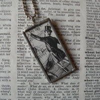 Vintage Circus Ring Leader, Elephant, vintage illustration, upcycled to soldered glass pendant