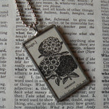 Verbena flower plant, vintage botanical dictionary illustration, up-cycled to soldered glass pendant