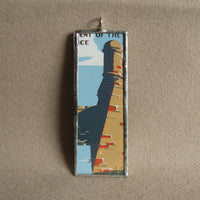 Fort Marion Florida, vintage National Park travel poster, upcycled hand soldered glass pendant