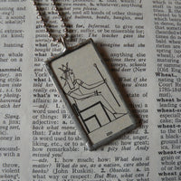 Isis, ancient Egyptian goddess, vintage dictionary illustration, soldered glass pendant