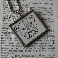 Bulldog, dog, vintage illustration, up-cycled to hand-soldered glass pendant