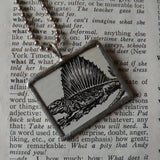 Pelycosaur Dinosaur, vintage dictionary illustration, up-cycled to soldered glass pendant