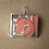 Squirrel and duck, vintage children's book illustration upcycled to soldered glass pendant