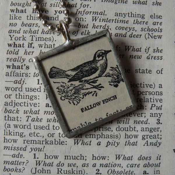 Fallow Finch Bird, vintage 1940s dictionary illustration upcycled to soldered glass pendant