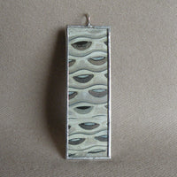 Gustav Klimt, painting of beautiful woman, geometric design, upcycled to soldered glass pendant