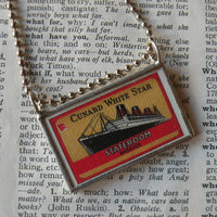 Vintage steamship, hotel luggage tags up-cycled to hand soldered glass pendant
