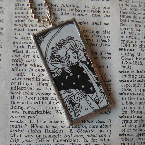 Art nouveau women in hats and bonnets, vintage illustration, upcycled to soldered glass pendant