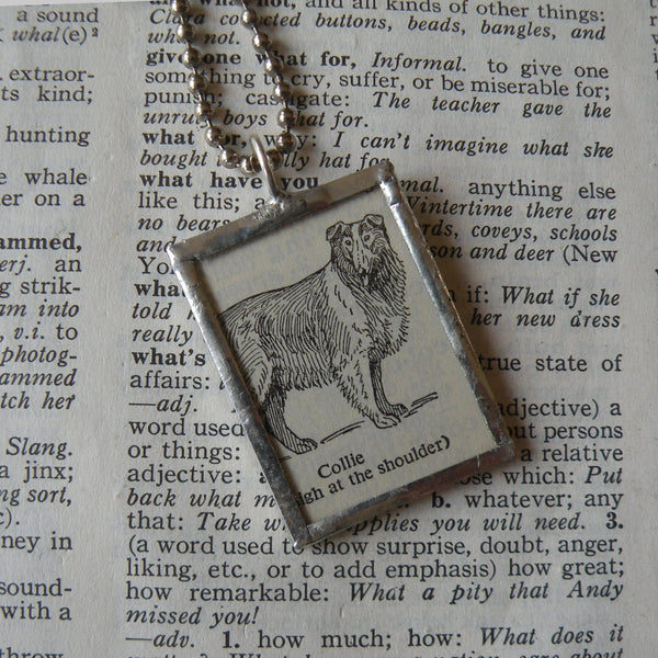 Collie dog, vintage 1940s dictionary illustration, up-cycled to hand-soldered glass pendant