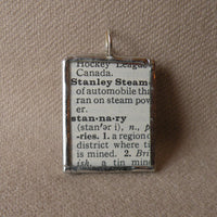 Stanley Steamer automobile, vintage dictionary illustration up-cycled to soldered glass pendant