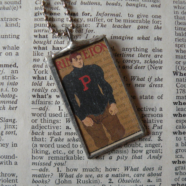 Princeton University football, vintage illustration, upcycled to soldered glass pendant