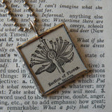 Cross section of flower, vintage botanical dictionary illustration, up-cycled, soldered glass pendant