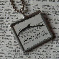 Dolphin, vintage 1940s dictionary illustration, up-cycled to hand soldered glass pendant