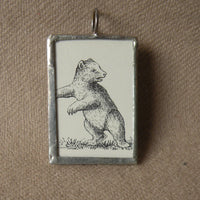 Polar Bear, vintage illustration, up-cycled to hand-soldered glass pendant