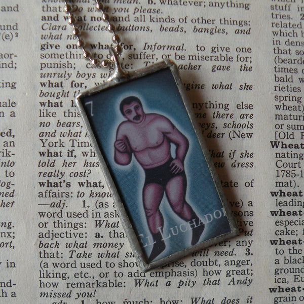 Lucha Libre, Mexican Wrestling, Luchador, Mexican Loteria cards up-cycled to soldered glass pendant