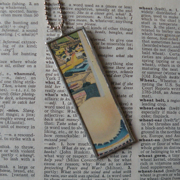 Vintage 1939 New York World's Fair postcard, up-cycled to soldered glass pendant