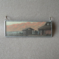 Japanese Woodblock Print, Mount Fuji scenery, up-cycled to soldered glass pendant