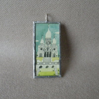 Paris France, Sacre Coeur, vintage travel poster illustrations,  upcycled to soldered glass pendant