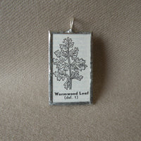 Wormwood plant, vintage botanical illustration, up-cycled to hand-soldered glass pendant