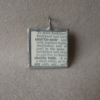 Badminton Shuttlecock, 1940s dictionary illustration upcycled to soldered glass pendant