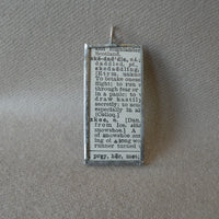 Vintage Skier, Skiing, Ski, 1940s dictionary illustration, upcycled to soldered glass pendant
