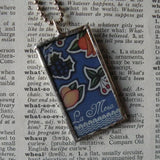 La Rama, branch, La Mesa, table, Mexican Loteria cards up-cycled to soldered glass pendant