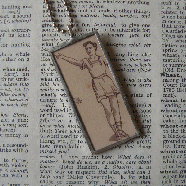 Vintage Women exercising, calisthenics, illustration up-cycled to hand soldered glass pendant