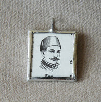 Man with Fez vintage dictionary illustration, upcycled to soldered glass pendant