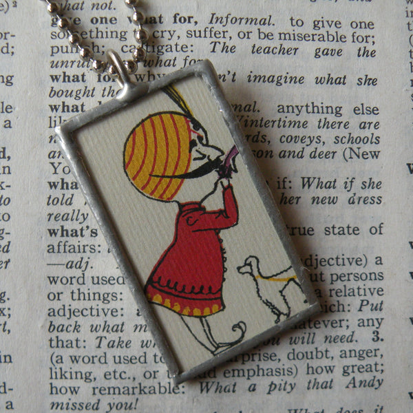 India, vintage airlines travel poster image, up-cycled to soldered glass pendant