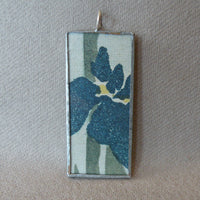 Japanese Iris, woodblock print, up-cycled to hand-soldered glass pendant