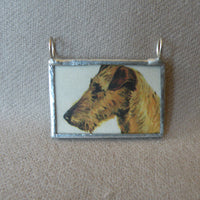 Irish Terrier dog, vintage illustration up-cycled to hand soldered glass pendant