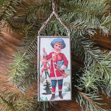 Boy with toys, holly and berries, vintage Christmas cards, upcycled to hand-soldered glass Christmas tree ornament