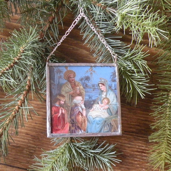 Virgin Mary, Baby Jesus, Nativity Scene, vintage French Christmas postcards, upcycled to hand-soldered glass Christmas tree ornament